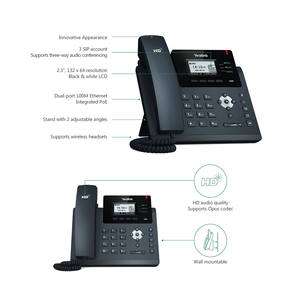 AFFORDABLE IP PHONE WITH THREE LINES & HD VOICE SIP-T40P