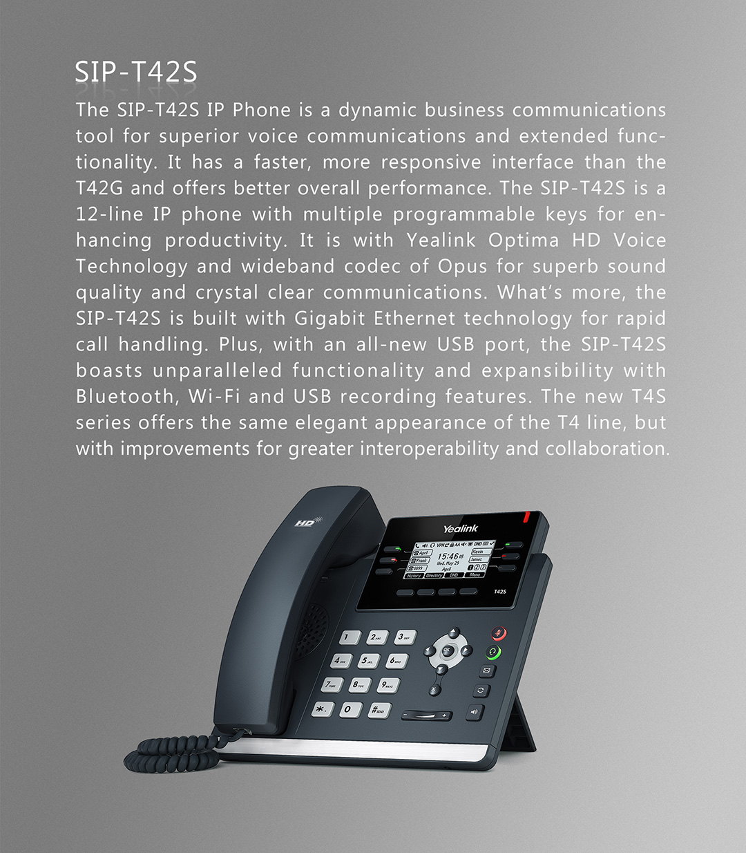 SIP-T42S_T4 Series Phones_Products_Yealink | UC&C terminal, video